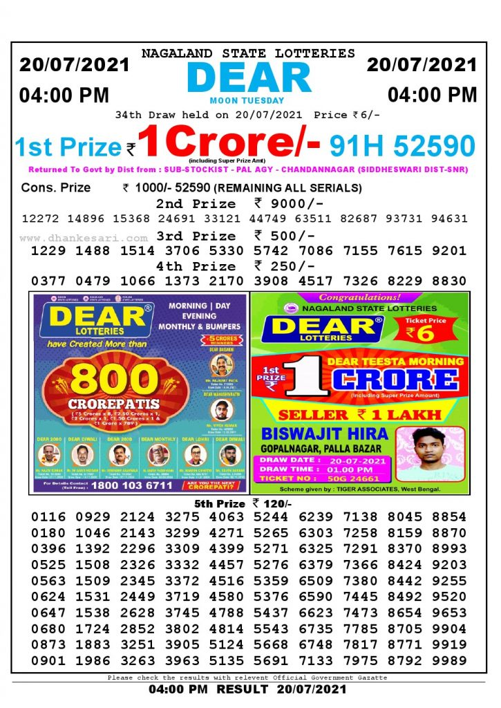 Lottery Sambad Live today 4pm 20/07/2021 Nagaland State Lottery Result Pdf File Download