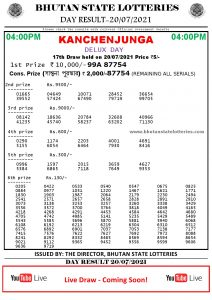 Bhutan Lottery Result 20.7.2021 Today 4pm PDF download
