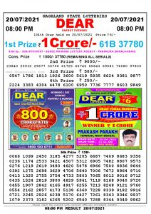 Lottery Sambad Live Result 8pm 20/07/2021 Evening Nagaland State Lottery Result Pdf Download