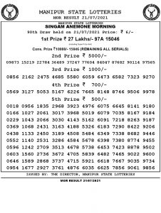 Manipur State Lottery Result (21.07.2021) Out now 11:00 AM pdf download