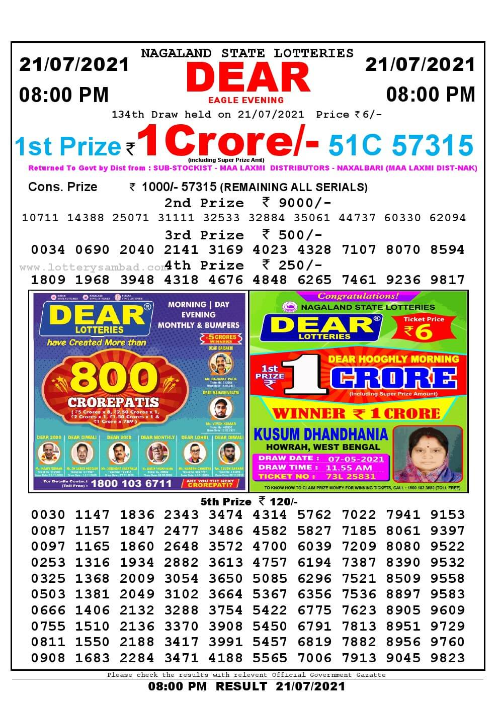 Lottery Sambad Live Result 8pm 21/07/2021 Evening Nagaland State Lottery Result Pdf Download