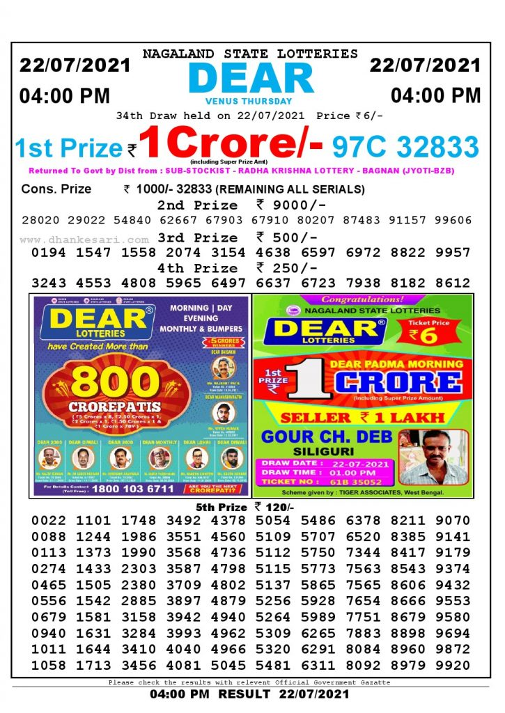 Lottery Sambad Live today 4pm 22/07/2021 Nagaland State Lottery Result Pdf File Download