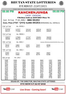 Bhutan Lottery Result 22.7.2021 Today evening 8pm PDF download