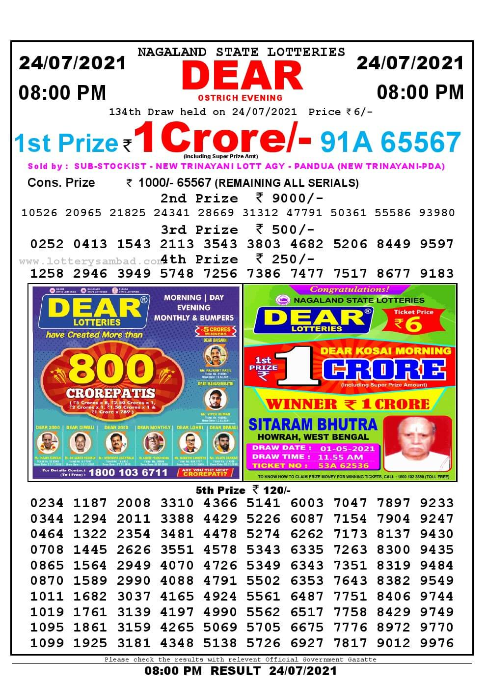 Lottery Sambad Live Result 8pm 24/07/2021 Evening Nagaland State Lottery Result Pdf Download