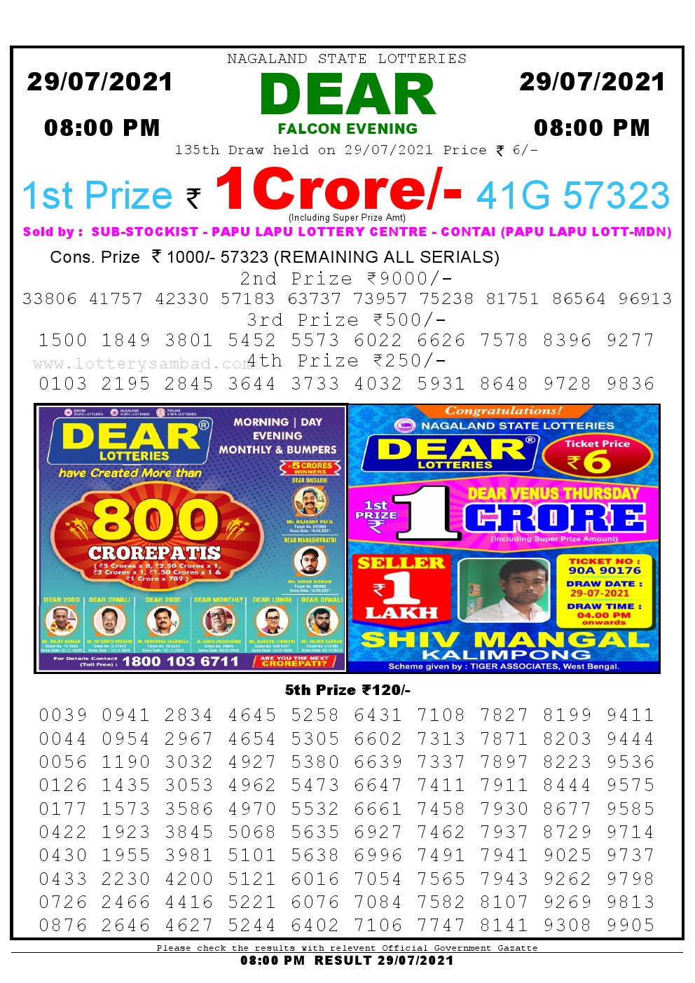 Lottery Sambad Live Result 8pm 29/07/2021 Evening Nagaland State Lottery Result Pdf Download