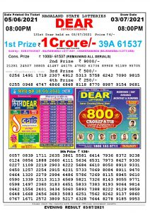Lottery Sambad Live Result 8pm 03/07/2021 Evening Nagaland State Lottery Result Pdf Download