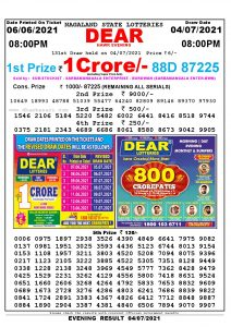Lottery Sambad Live Result 8pm 04/07/2021 Evening Nagaland State Lottery Result Pdf Download