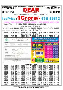 Lottery Sambad Live Result 8pm 05/07/2021 Evening Nagaland State Lottery Result Pdf Download