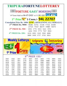 Tripura Lottery Result 06.07.2021 Today 11:00 AM Morning Result Pdf Download