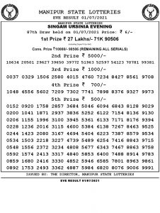 Manipur State Lottery Result (01.07.2021) Out now 07 pm pdf download