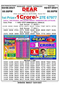 Lottery Sambad Live Result 8pm 02/07/2021 Evening Nagaland State Lottery Result Pdf Download
