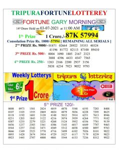 Tripura Lottery Result 03.02.2021 Today 11:00 AM Morning Result Pdf Download