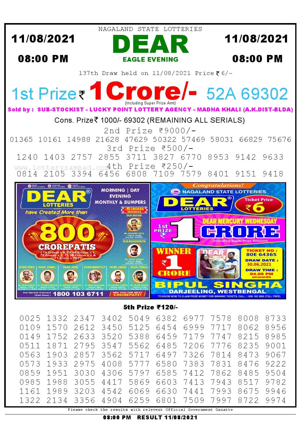 Lottery Sambad Live Result 8pm 11/08/2021 Evening Nagaland State Lottery Result Pdf Download