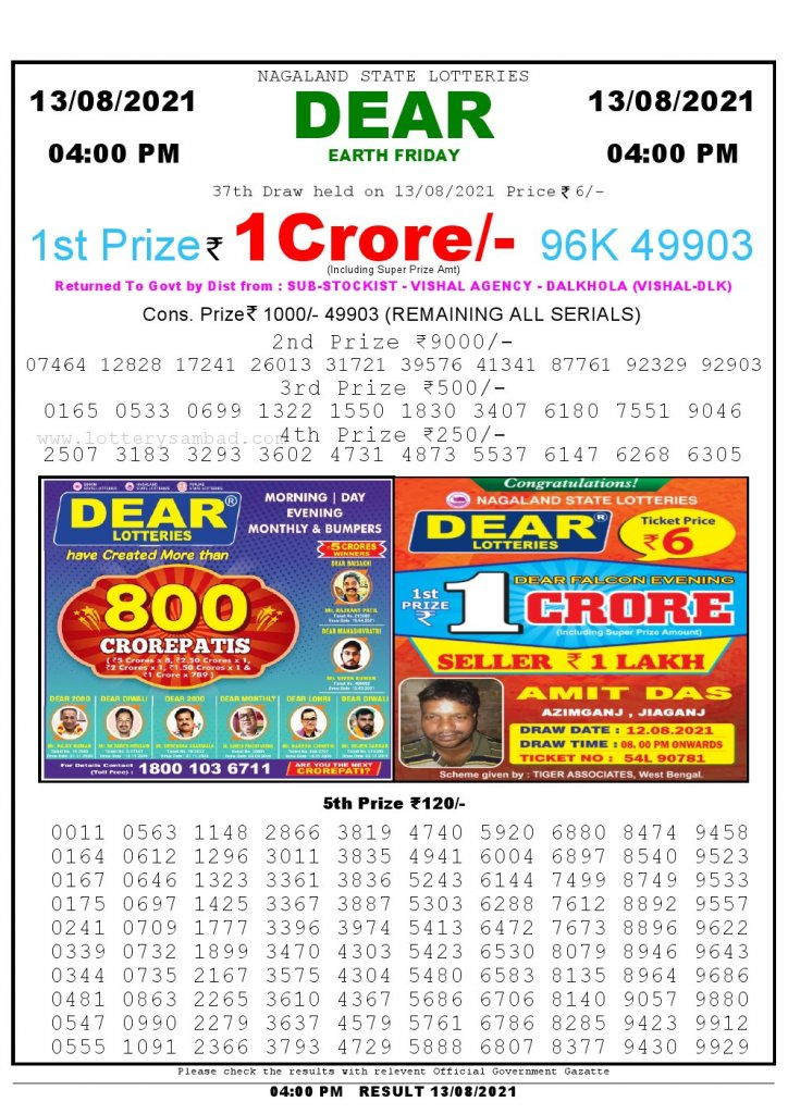 Lottery Sambad Live today 4pm 13/08/2021 Nagaland State Lottery Result Pdf File Download