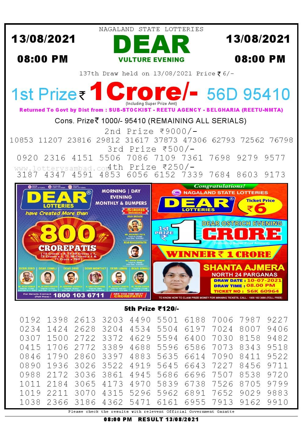 Lottery Sambad Live Result 8pm 13/08/2021 Evening Nagaland State Lottery Result Pdf Download