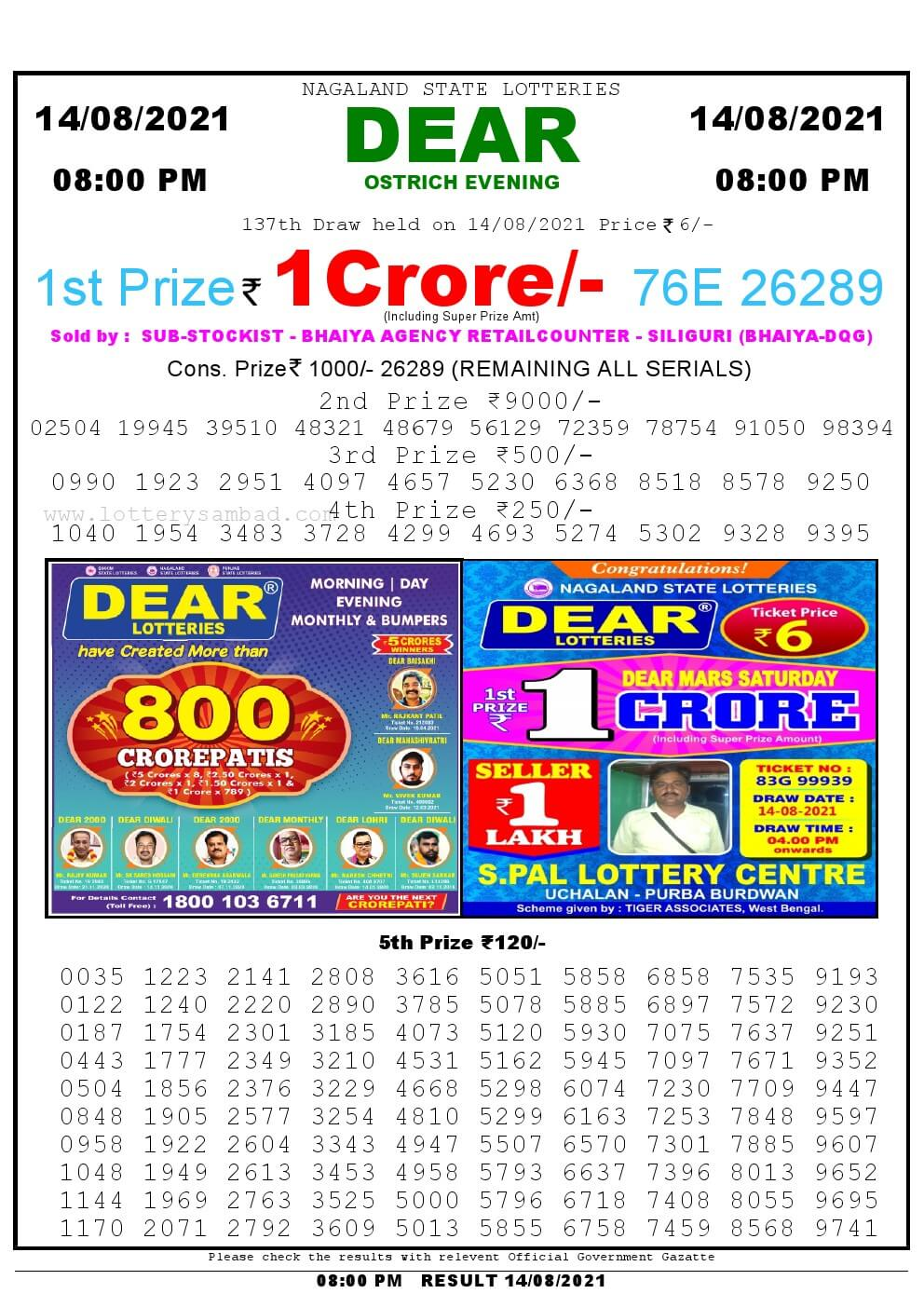Lottery Sambad Live Result 8pm 14/08/2021 Evening Nagaland State Lottery Result Pdf Download