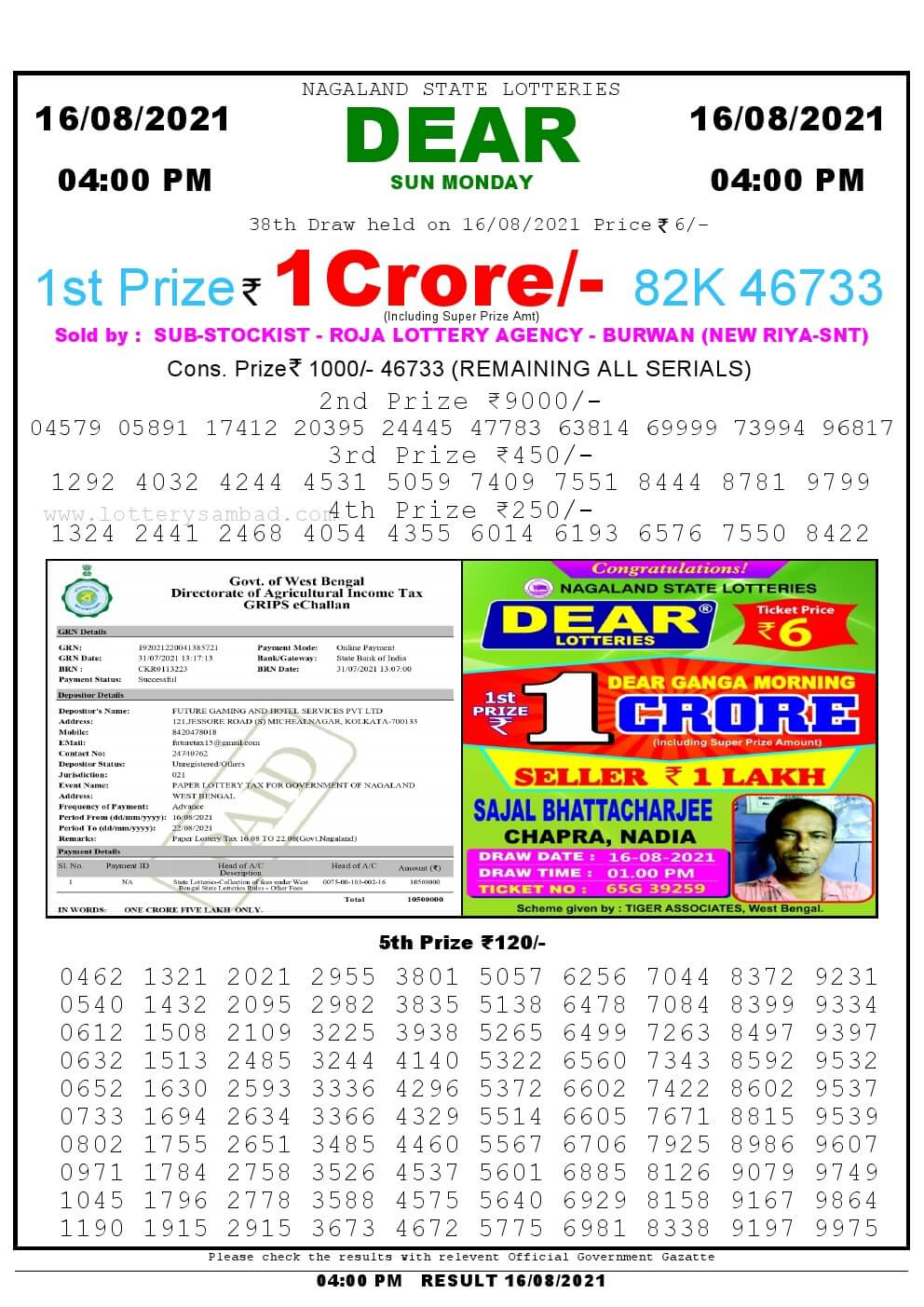 Lottery Sambad Live today 4pm 16/08/2021 Nagaland State Lottery Result Pdf File Download