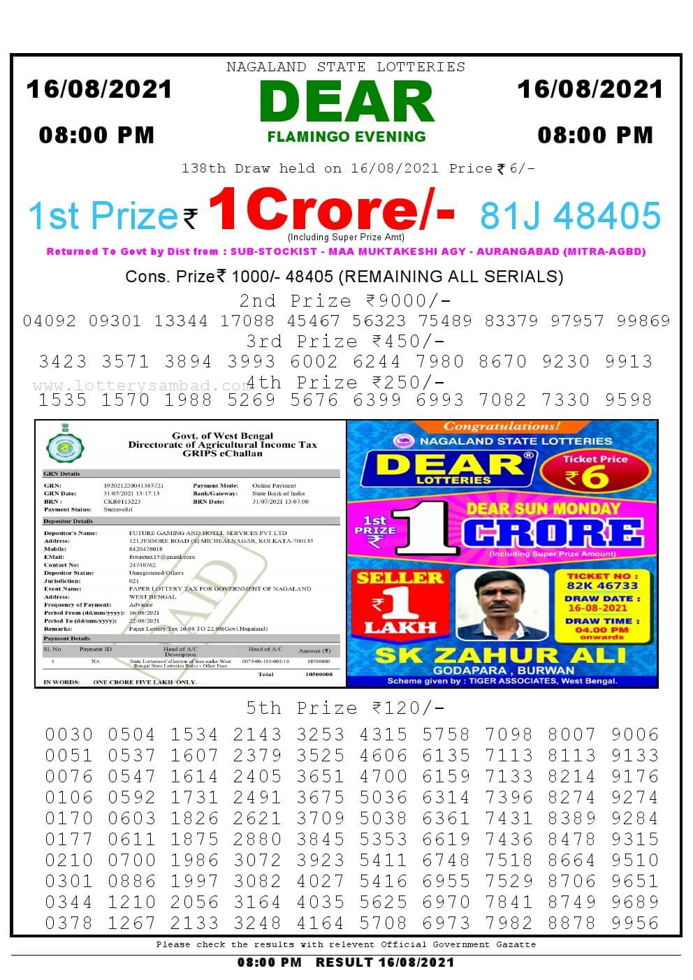 Lottery Sambad Live Result 8pm 16/08/2021 Evening Nagaland State Lottery Result Pdf Download