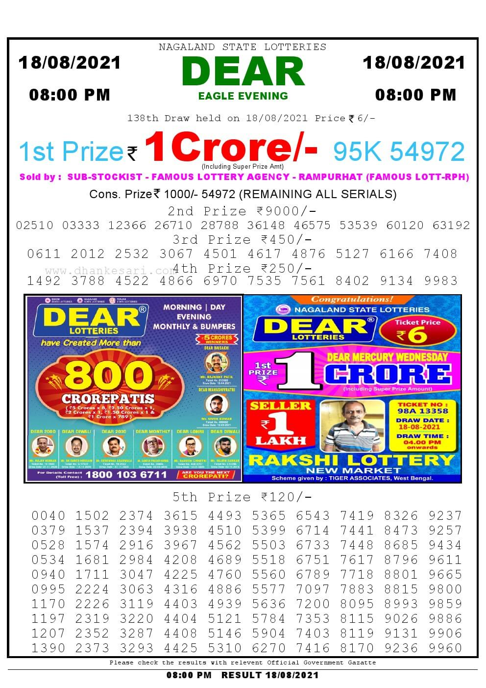 Lottery Sambad Live Result 8pm 18/08/2021 Evening Nagaland State Lottery Result Pdf Download