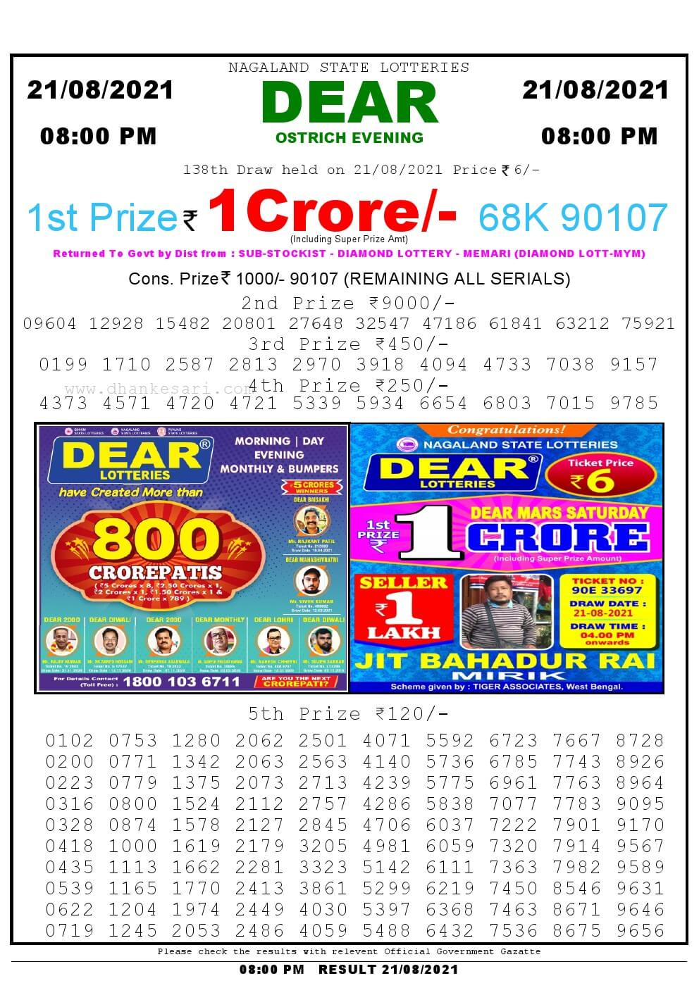 Lottery Sambad Live Result 8pm 21/08/2021 Evening Nagaland State Lottery Result Pdf Download