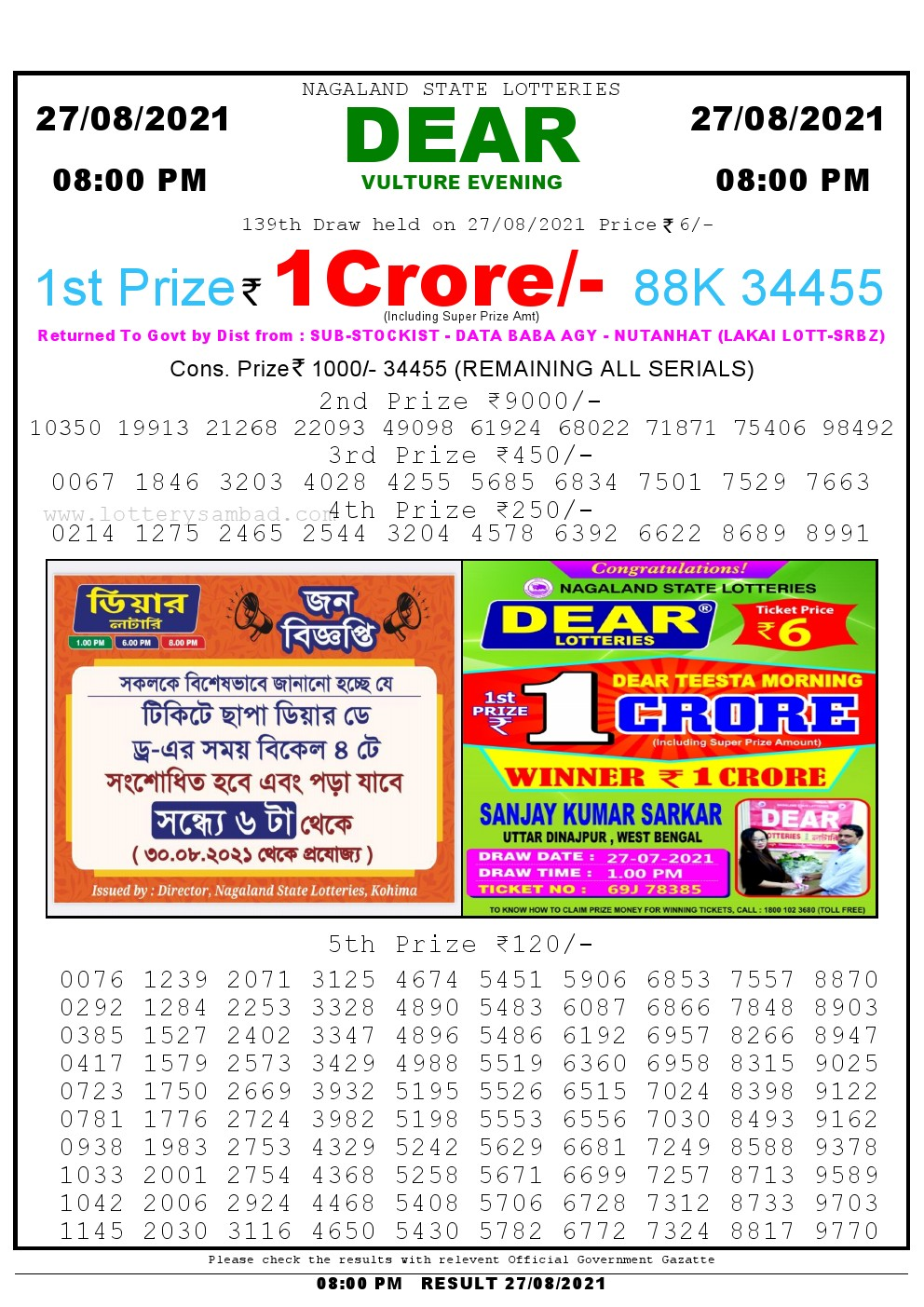Lottery Sambad Live Result 8pm 27/08/2021 Evening Nagaland State Lottery Result Pdf Download