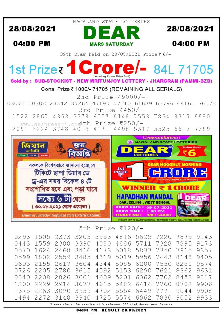 Lottery Sambad Live today 4pm 28/08/2021 Nagaland State Lottery Result Pdf File Download