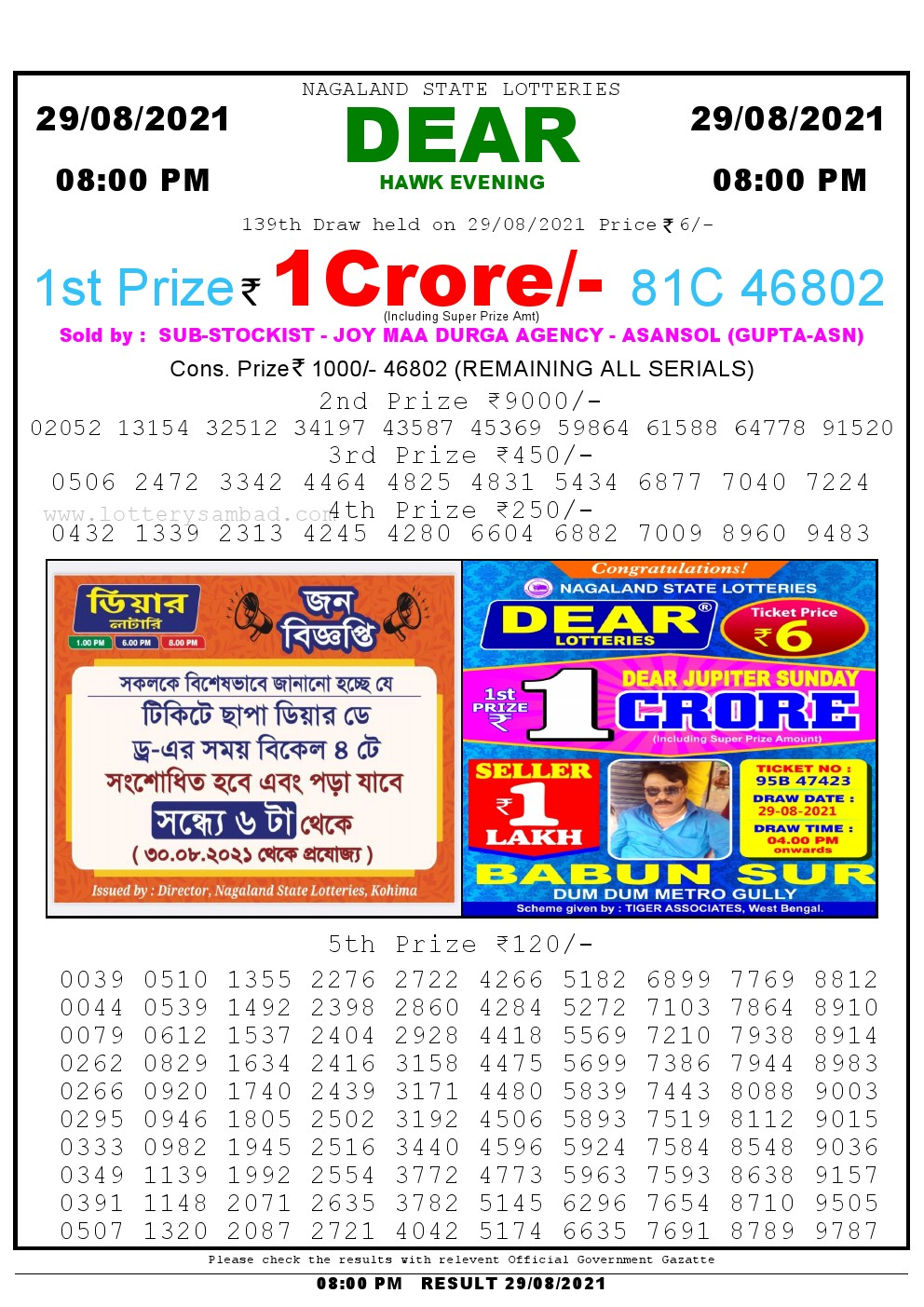 Lottery Sambad Live Result 8pm 29/08/2021 Evening Nagaland State Lottery Result Pdf Download