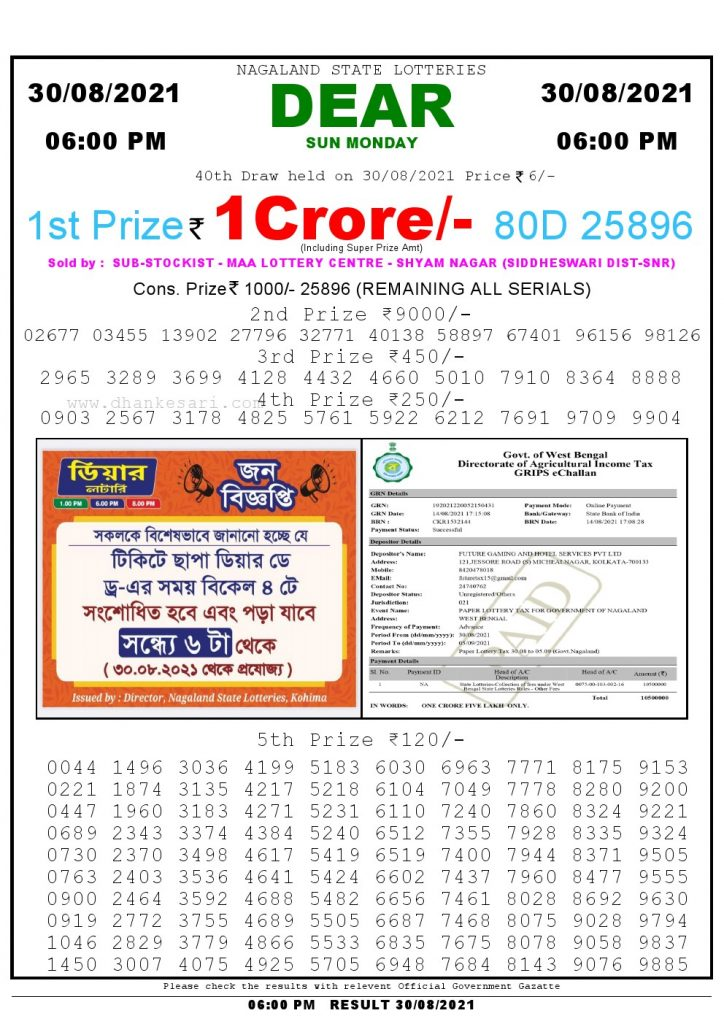 Lottery Sambad Live today 4pm 30/08/2021 Nagaland State Lottery Result Pdf File Download