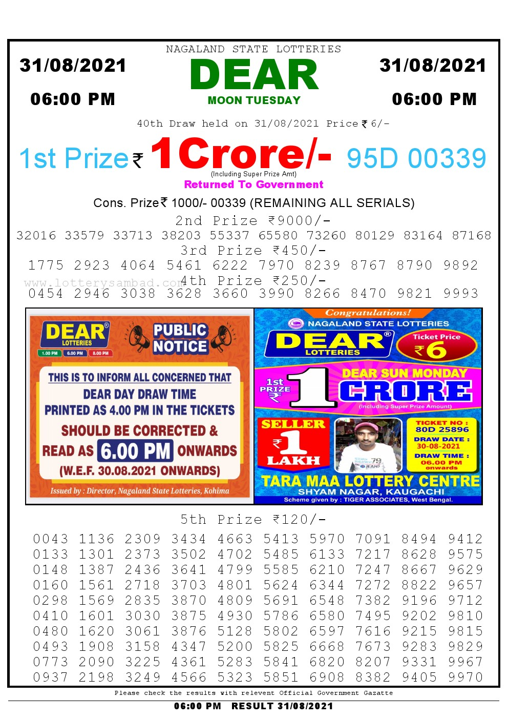 Lottery Sambad Live today 4pm 31/08/2021 Nagaland State Lottery Result Pdf File Download