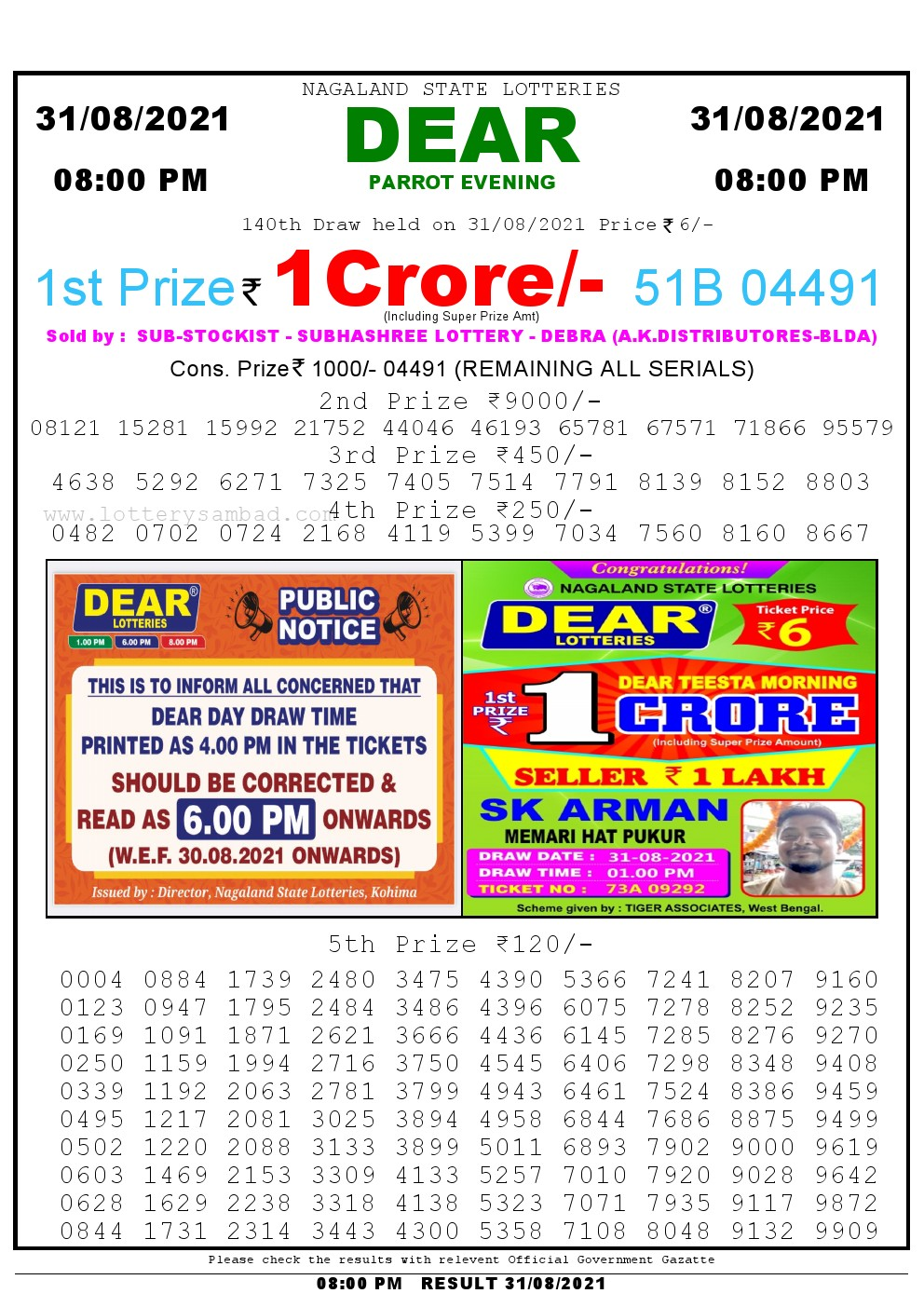 Lottery Sambad Live Result 8pm 31/08/2021 Evening Nagaland State Lottery Result Pdf Download