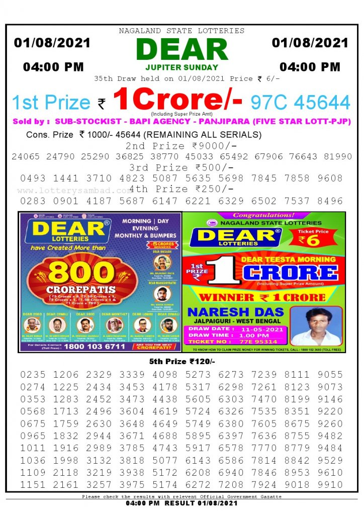 Lottery Sambad Live today 4pm 01/08/2021 Nagaland State Lottery Result Pdf File Download