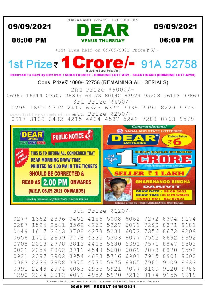 Lottery Sambad Live today 6pm 09/09/2021 Nagaland State Lottery Result Pdf File Download