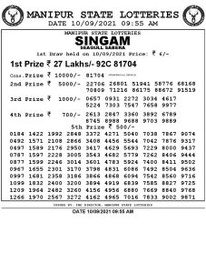 Manipur State Lottery Result (10.09.2021) Out now 09:55 AM pdf download