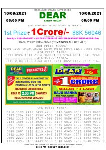 Lottery Sambad Live today 6pm 10/09/2021 Nagaland State Lottery Result Pdf File Download