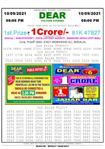 Lottery Sambad Live Result 8pm 10/09/2021 Evening Nagaland State Lottery Result Pdf Download