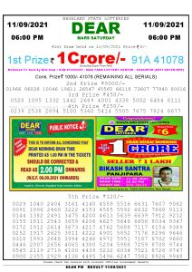 Lottery Sambad Live today 6pm 11/09/2021 Nagaland State Lottery Result Pdf File Download