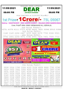 Lottery Sambad Live Result 8pm 11/09/2021 Evening Nagaland State Lottery Result Pdf Download