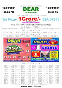 Lottery Sambad Live today 6pm 12/09/2021 Nagaland State Lottery Result Pdf File Download