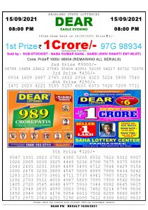 Lottery Sambad Live Result 8pm 15/09/2021 Evening Nagaland State Lottery Result Pdf Download