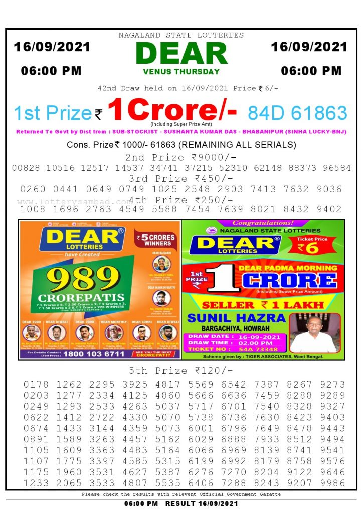 Lottery Sambad Live today 6pm 16/09/2021 Nagaland State Lottery Result Pdf File Download