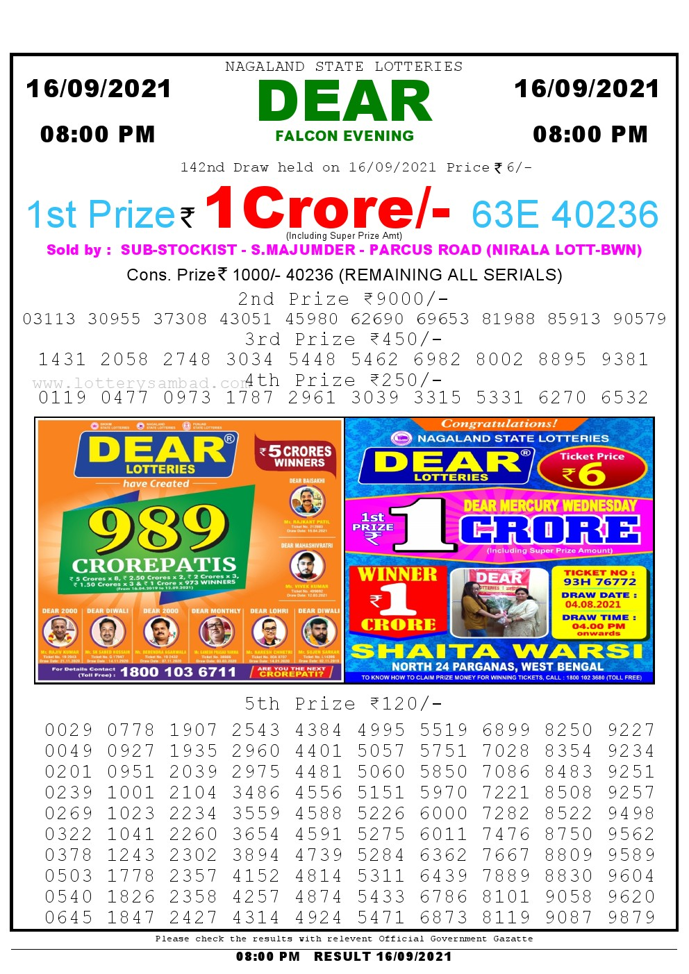 Lottery Sambad Live Result 8pm 16/09/2021 Evening Nagaland State Lottery Result Pdf Download