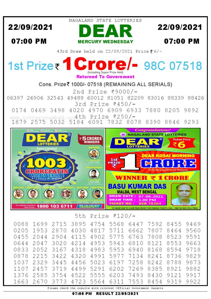 Lottery Sambad Live Result 7pm 22/09/2021 Day Nagaland State Lottery Result Pdf Download