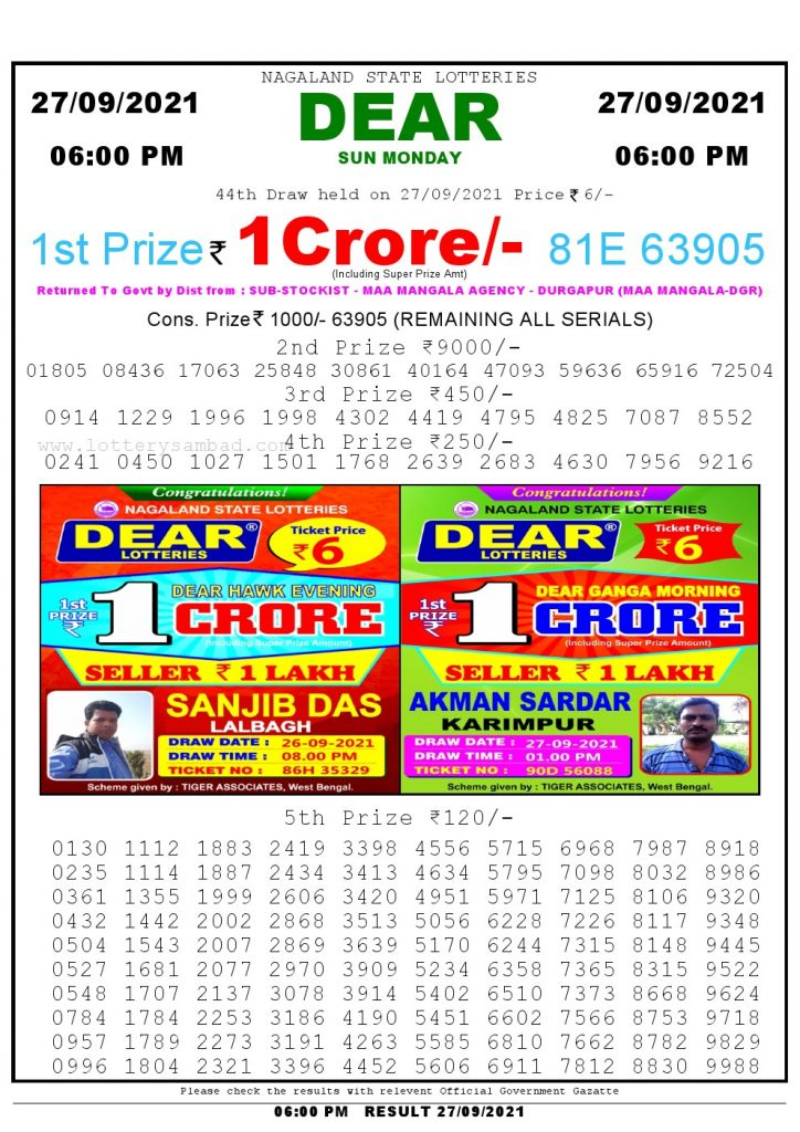 Lottery Sambad Live Result 6pm 27/09/2021 day Nagaland State Lottery Result Pdf Download