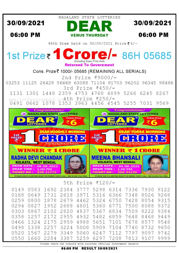 Lottery Sambad Live Result 6pm 30/09/2021 day Nagaland State Lottery Result Pdf Download