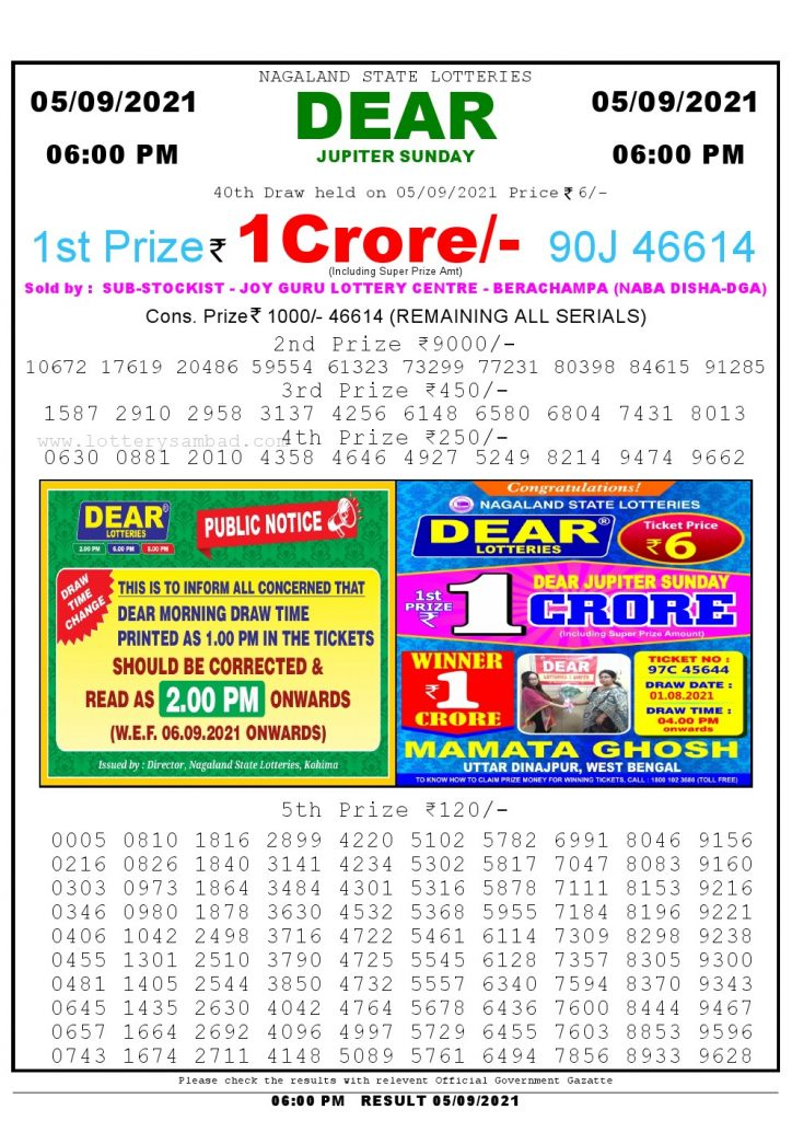 Lottery Sambad Live today 4pm 05/09/2021 Nagaland State Lottery Result Pdf File Download