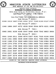 Manipur State Lottery Result (05.09.2021) Out now 07:00 PM pdf download