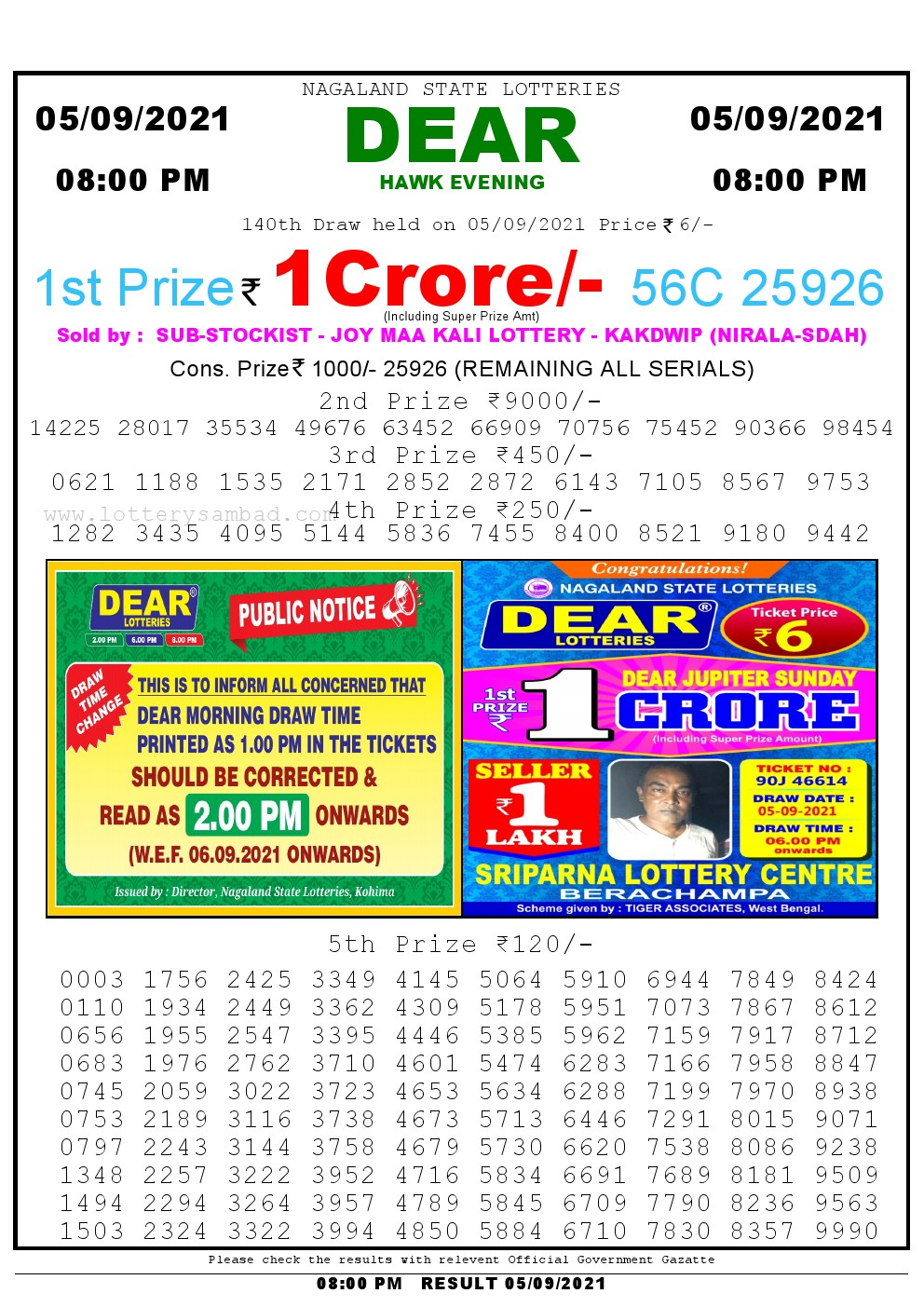 Lottery Sambad Live Result 8pm 05/09/2021 Evening Nagaland State Lottery Result Pdf Download