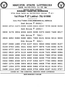 Manipur State Lottery Result (06.09.2021) Out now 11:00 AM pdf download