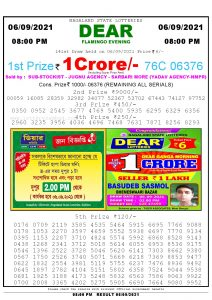 Lottery Sambad Live Result 8pm 06/09/2021 Evening Nagaland State Lottery Result Pdf Download