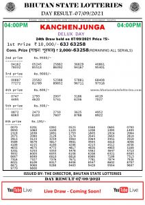 Bhutan Lottery Result 07.9.2021 Today 4pm PDF download